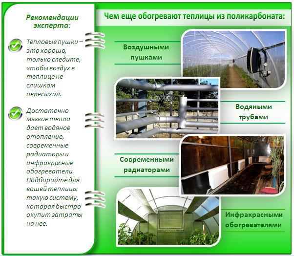 Виды отопления поликарбонатных теплиц