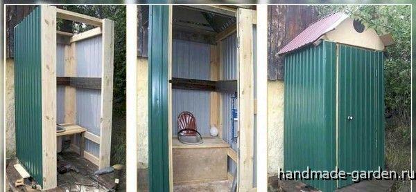Туалет на даче своими руками строят из любого материала. Этот - из профнастила